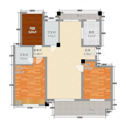 锦绣江南3室1厅2卫1厨36118.00㎡户型图