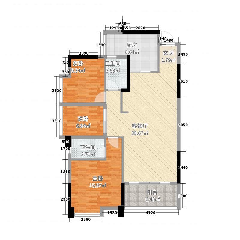 龙腾豪园612.18㎡一期6号楼标准层03户型3室2厅2卫1厨