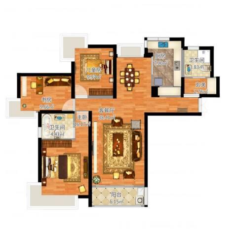 金沙雅苑四期3室1厅2卫1厨134.00㎡户型图