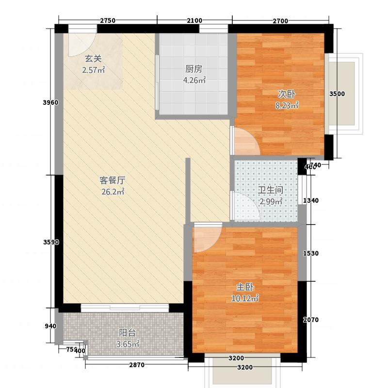 国和苑A3户型2室2厅1卫1厨