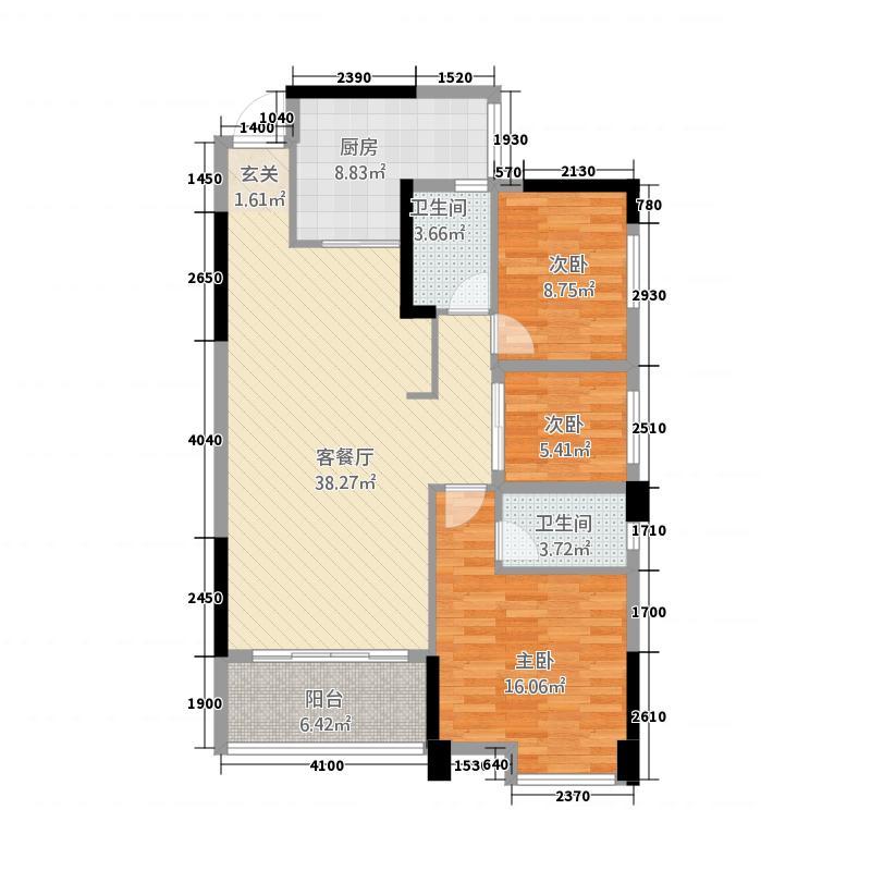 龙腾豪园5116.28㎡一期5号楼标准层04户型3室2厅2卫1厨