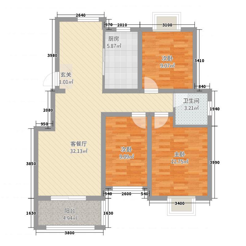 天景名城111.22㎡一期A户型3室2厅1卫1厨