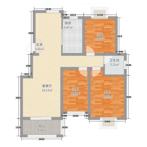 天景名城3室1厅1卫1厨111.00㎡户型图