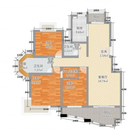 巴比伦花园3室1厅2卫1厨138.00㎡户型图
