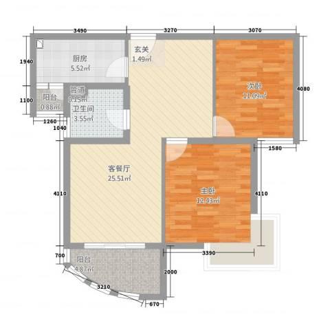 巴比伦花园2室1厅1卫1厨63.98㎡户型图