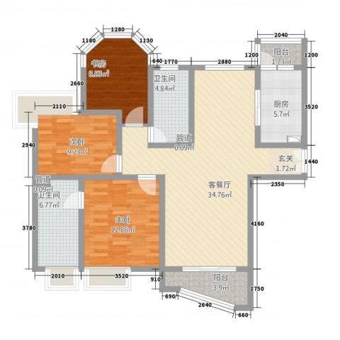 巴比伦花园3室1厅2卫1厨88.81㎡户型图