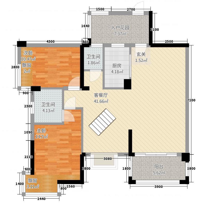 东正国际城2182.15㎡C2楼中楼-楼下户型2室2厅1卫1厨