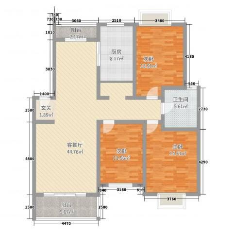 人和家园3室1厅1卫1厨153.00㎡户型图