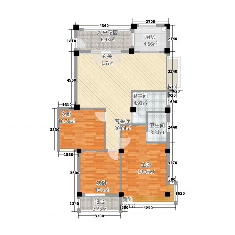 永鸿厦门湾南岸花园洋房R1型户型3室2厅2卫1厨