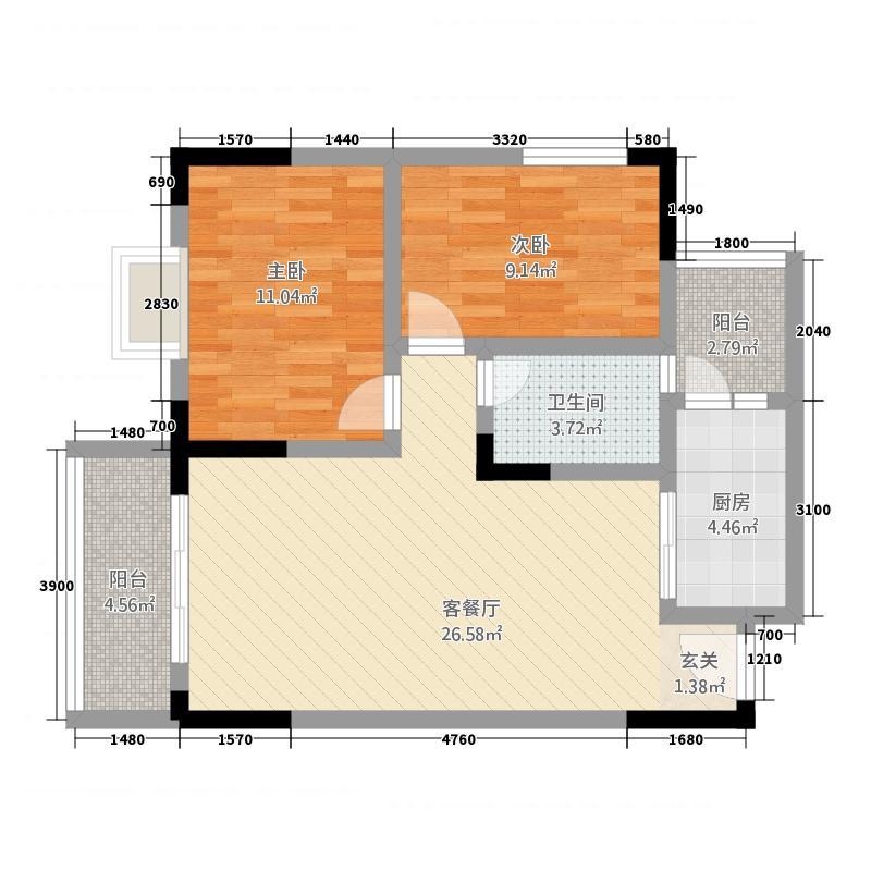 海润大厦25.72㎡户型2室2厅1卫