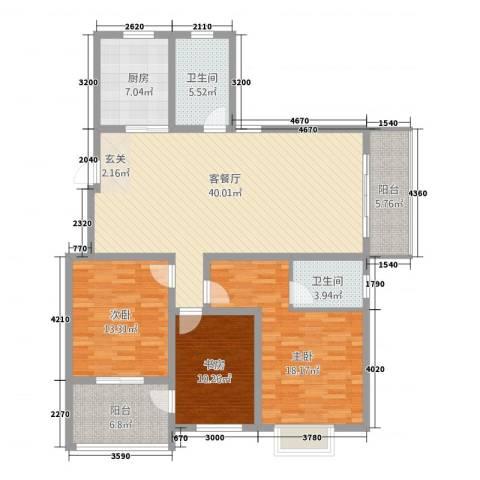 锦都花园3室1厅2卫1厨1133.00㎡户型图