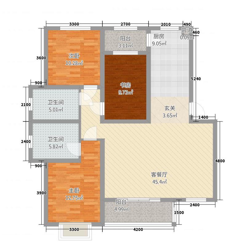 中康凤凰城133.82㎡(4)户型3室2厅2卫1厨