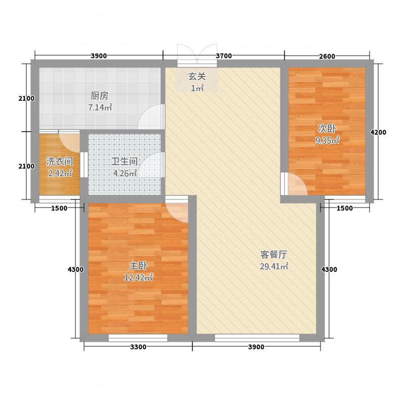 滨河家园1.35㎡户型2室2厅1卫