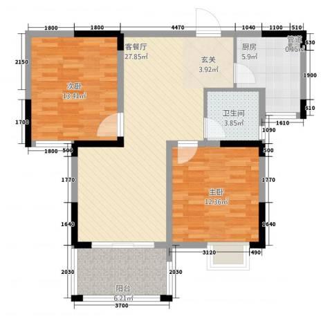 新安达观天下2室1厅1卫1厨69.73㎡户型图