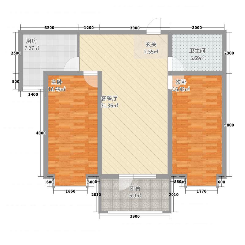 龙城金帝园一期D户型2室1厅1卫