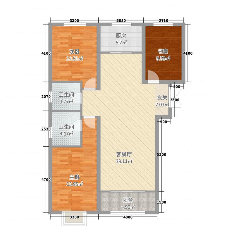 金宇・新天地133.00㎡1号楼2号楼3号楼F户型3室2厅2卫