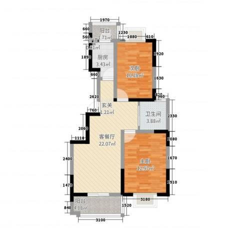 白领国际公寓2室1厅1卫1厨68.80㎡户型图