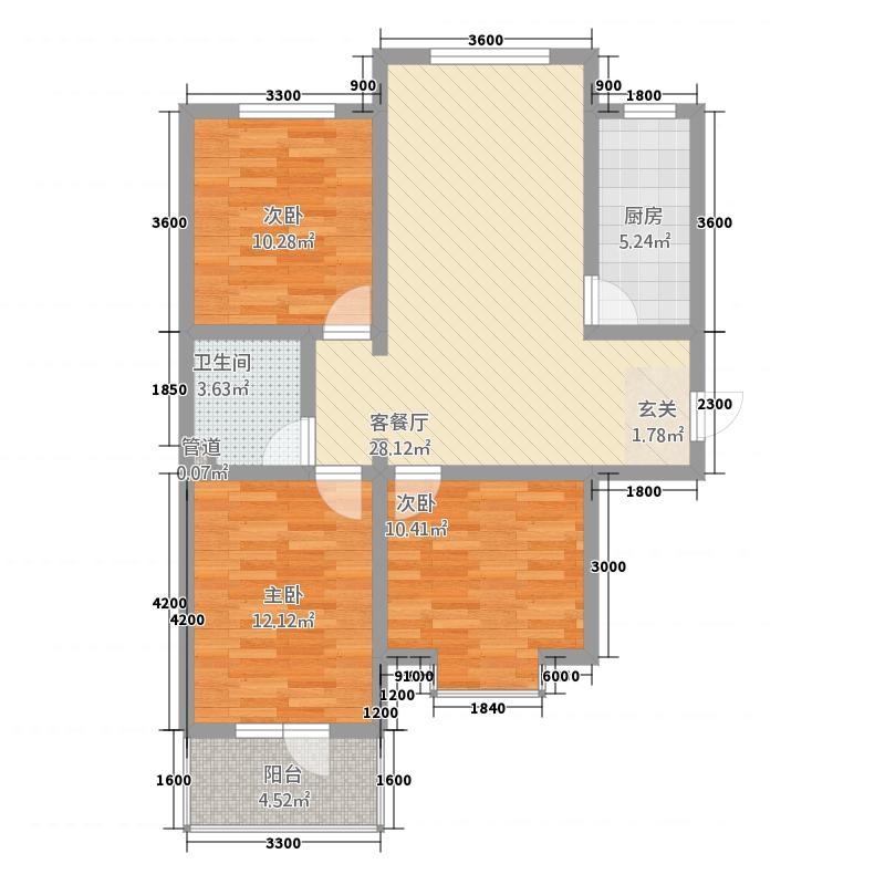 龙城金帝园13.41㎡一期G户型3室2厅1卫