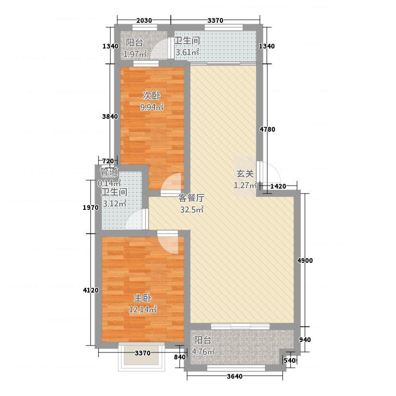 将军府151.20㎡1-5号楼B1户型2室2厅1卫1厨