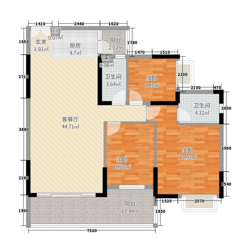新幸福领汇家园1212.22㎡12座04单元3室户型3室2厅2卫1厨