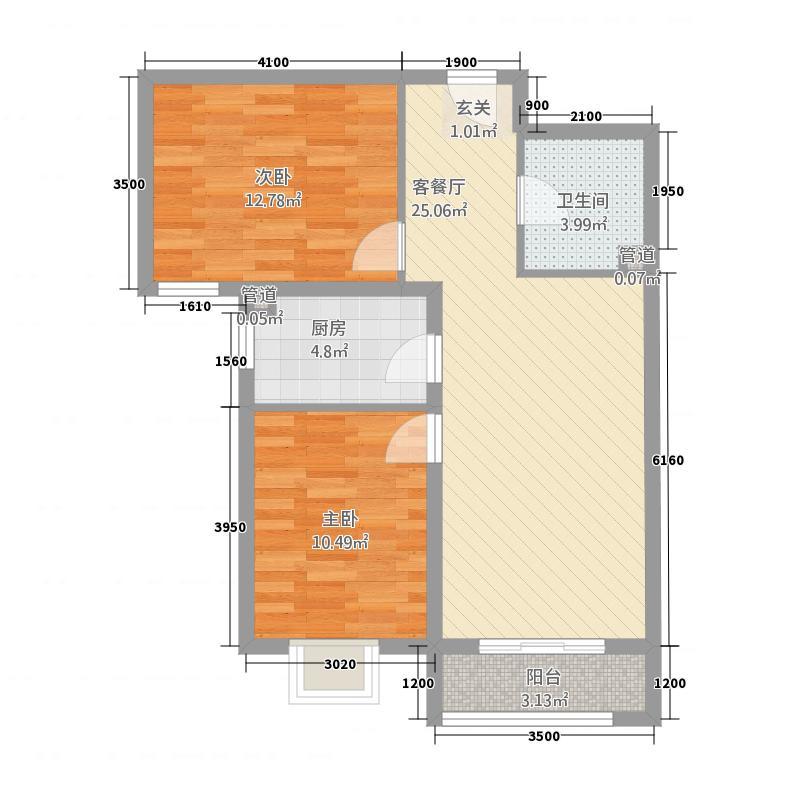 世纪龙庭二期38.20㎡D区D3户型2室2厅1卫1厨