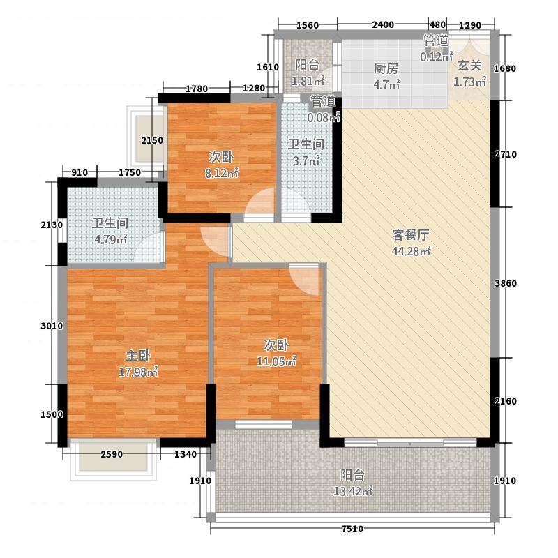 新幸福领汇家园113.76㎡10座03单元3室户型3室2厅2卫1厨