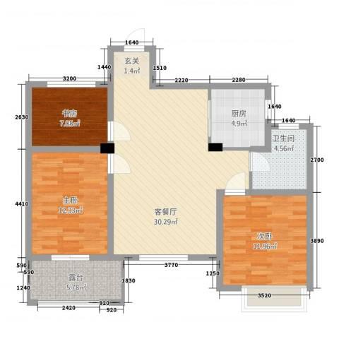 锦绣江南3室1厅1卫1厨76.86㎡户型图