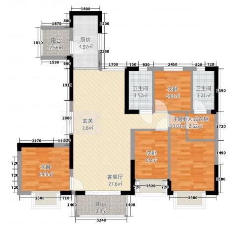 恒大御景半岛4室1厅2卫1厨78.22㎡户型图
