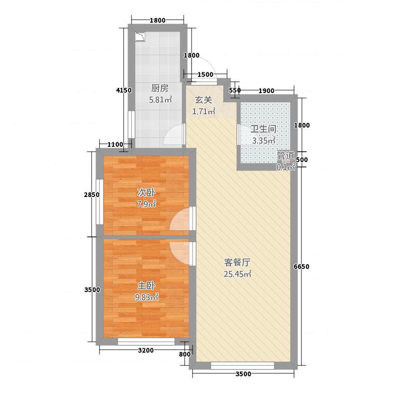 华远・西山雅园8.00㎡D1户型2室2厅1卫1厨