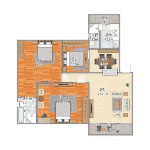 荟景豪庭3室2厅2卫1厨123.00㎡户型图
