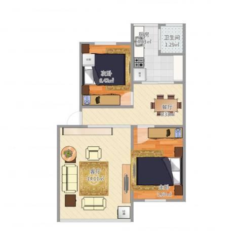东怡花园2室2厅1卫1厨55.00㎡户型图