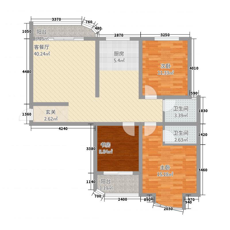 华城铂宫4126.52㎡(4)户型3室2厅2卫1厨