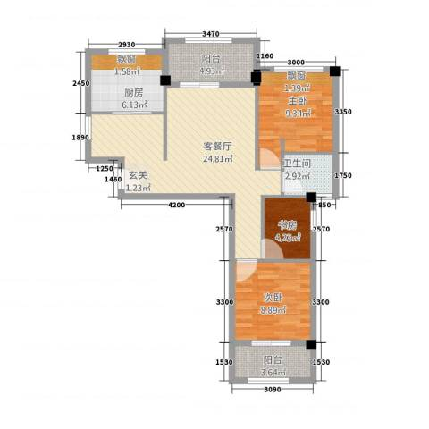 永鸿御珑湾3室1厅1卫1厨64.89㎡户型图