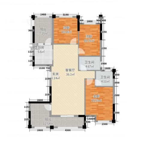 金融街中央领御3室1厅2卫1厨36136.00㎡户型图