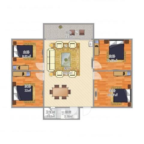 岐苑大厦4室1厅1卫1厨120.00㎡户型图