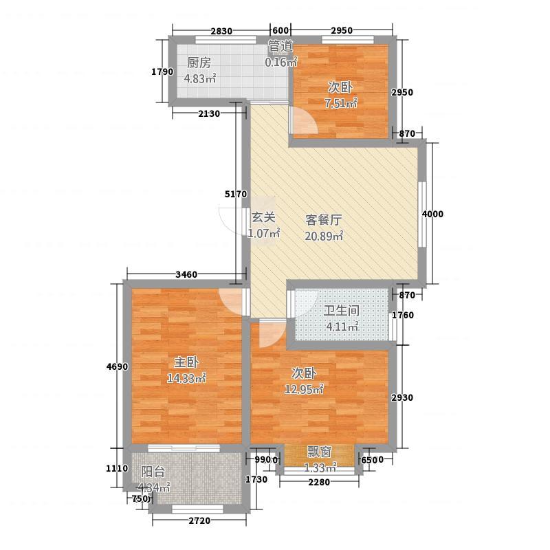 将军府1521.20㎡1-5号楼B2户型3室1厅1卫1厨