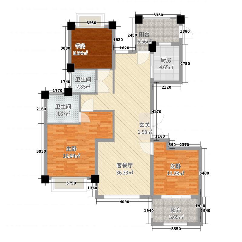 华龙・阳光星城138.20㎡户型3室2厅2卫1厨