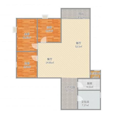 兴运大厦3室1厅1卫1厨135.00㎡户型图
