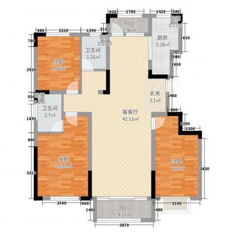 汉爵御苑3室1厅2卫1厨99.65㎡户型图