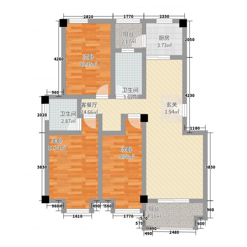 平度龙宇上城二期18.20㎡户型3室2厅2卫1厨