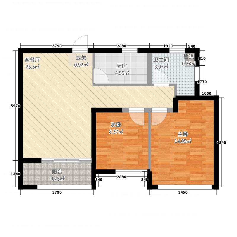 康桥溪棠2287.20㎡F户型2室2厅1卫1厨