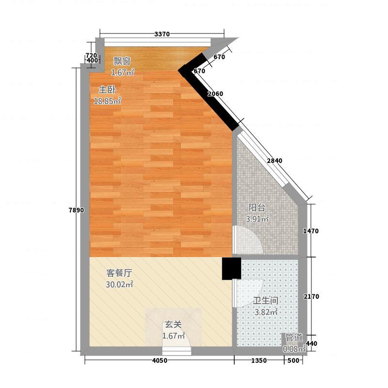 侨荣城单身公寓5348户型