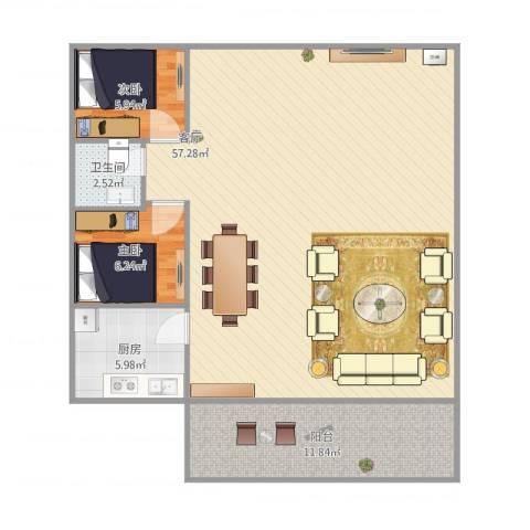 华辉花园2室1厅1卫1厨119.00㎡户型图
