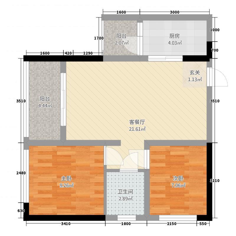 愿景西江尚善166.16㎡一期1栋标准层C2-1户型2室2厅1卫1厨
