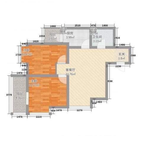 双威理想城二期2室1厅1卫1厨86.00㎡户型图