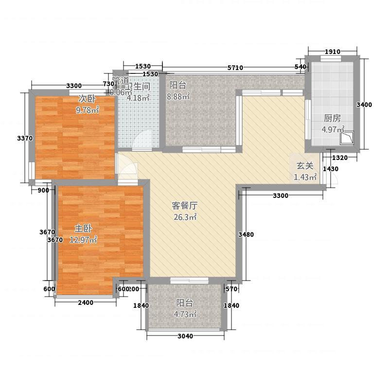 绿地中央花园88.20㎡户型2室2厅2卫1厨