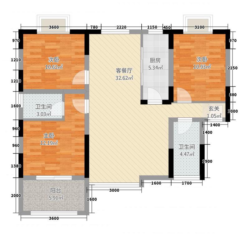 商州金岸小区12.22㎡户型3室2厅2卫1厨
