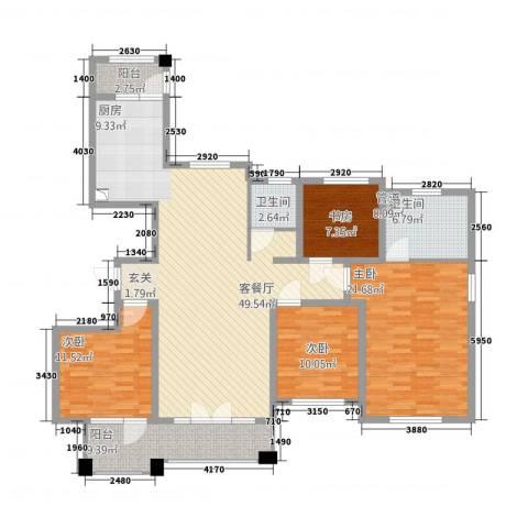 金茂四季花园4室1厅2卫0厨121.80㎡户型图