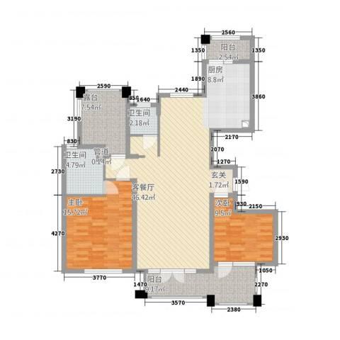 金茂四季花园2室1厅2卫0厨98.01㎡户型图