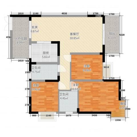 铜锣湾3室1厅2卫1厨53212.00㎡户型图